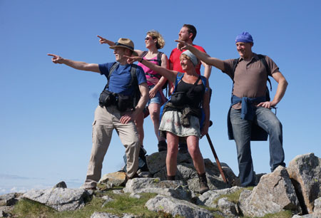 Hill Walkers At The Summit